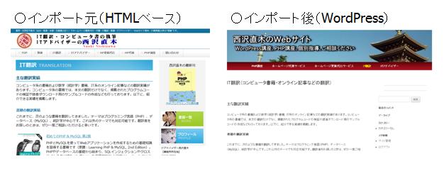 HTMLベースのWebサイトをWordPressにインポート