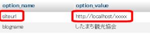 WordPressアドレス(siteurl)