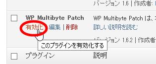 WP Multibyte Patchの有効化
