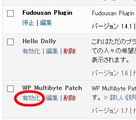 WP Multibyte Patchプラグインを有効化