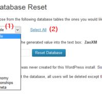 Database Resetメニュー
