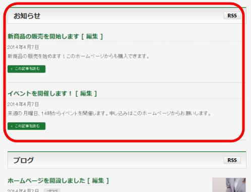 BizVektorのトップページのInformation