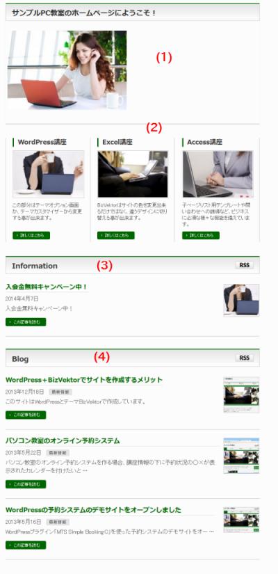 トップページの固定ページ本文・3PRエリア・Information・Blog
