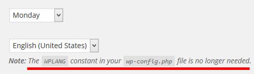 「WPLANGは不要」と警告が表示される