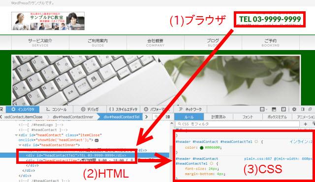 現在表示中の画面のHTMLとCSSが表示される