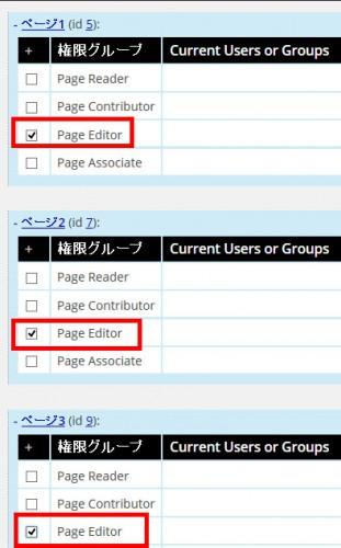 編集可能にするページをチェック