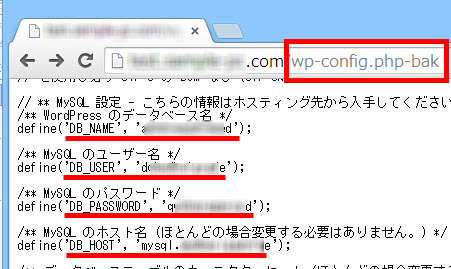 データベースパスワードなどが丸見えに!