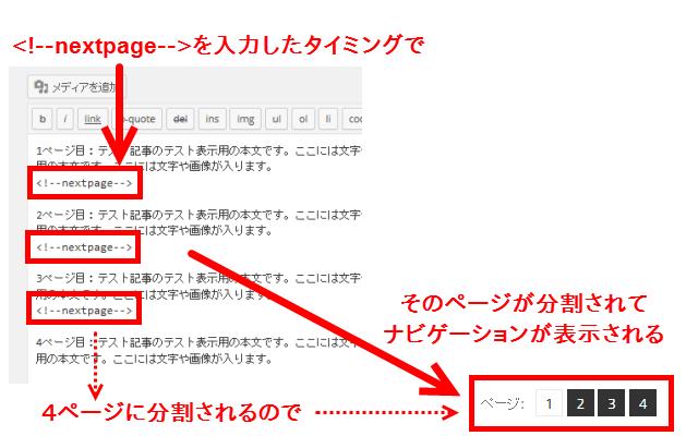 nextpageが入力されたタイミングでページが分割される
