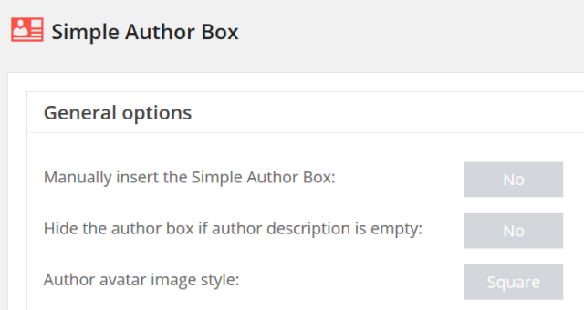 「設定」‐「Simple Author Box」メニュー