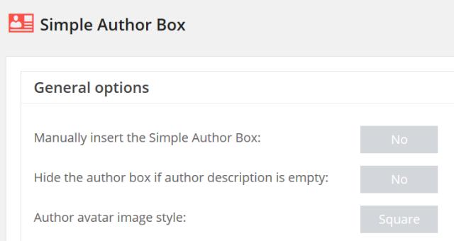 「設定」‐「Simple Author Box」メニュー