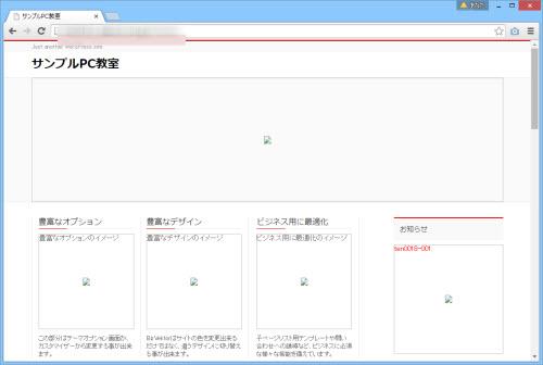 ホームページが表示される(画像は表示されない)