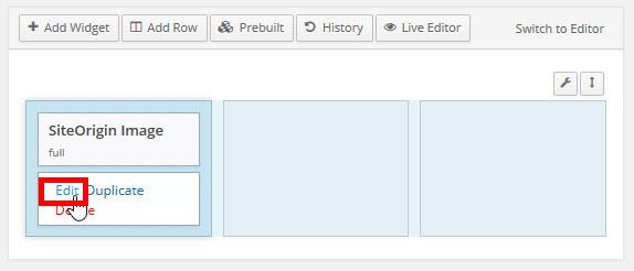 テキストウィジェットの設定画面を開く