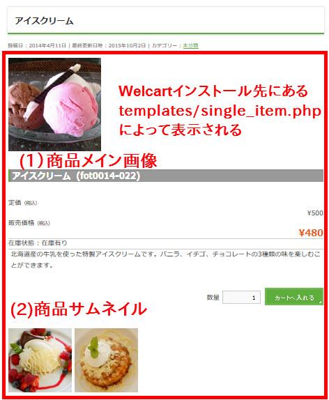 一般的なテーマの商品詳細ページ( BizVektorの例)