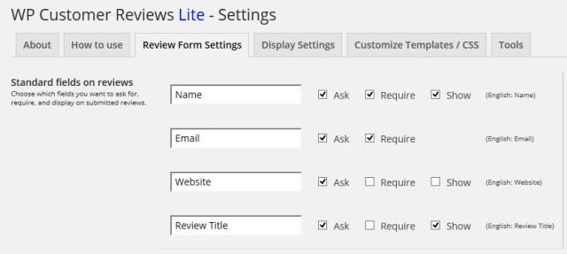 入力項目の設定画面(Review Form Settings)