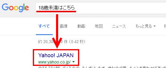 「18歳未満はこちら」で検索するとYahoo! JAPANが1位に