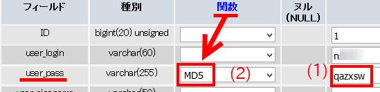 パスワードは「MD5」で暗号化する必要がある