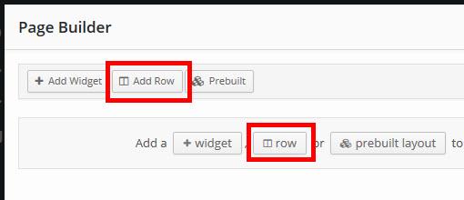 「Add Row」または「Row」をクリック