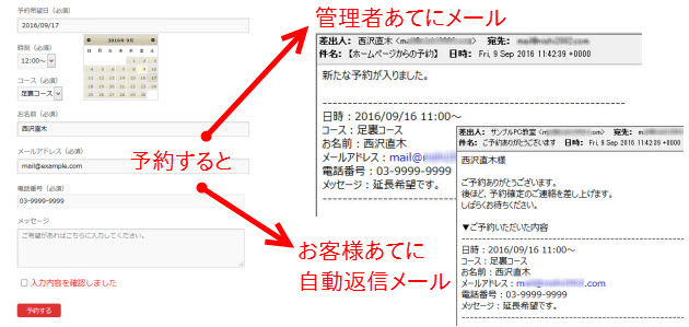Contact Form 7で作る予約フォームの完成例