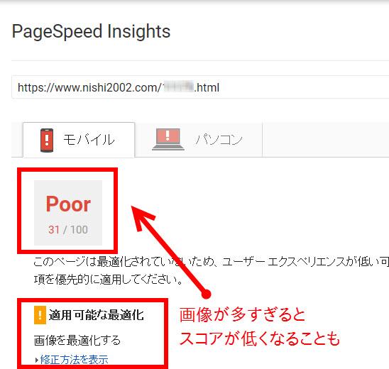 画像が多いページでPageSpeedのスコアが低くなる