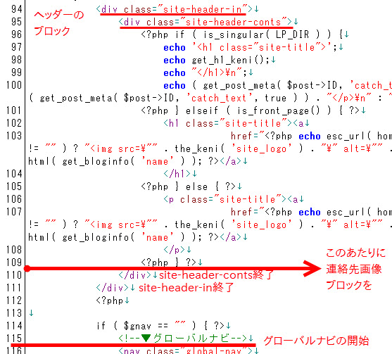 header.phpで連絡先画像ブロックを差し込む位置