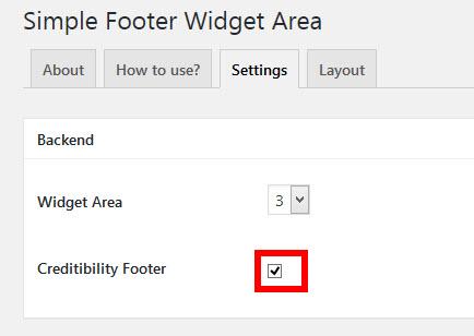 一番下に表示される「Creditibility Footer」