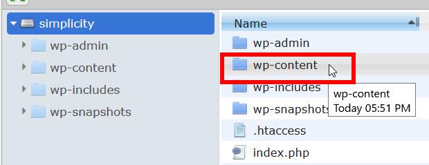 wp-contentフォルダを開く