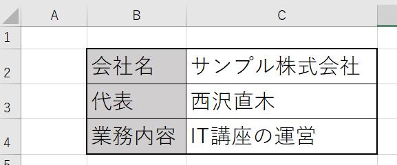 Excelで作成した表
