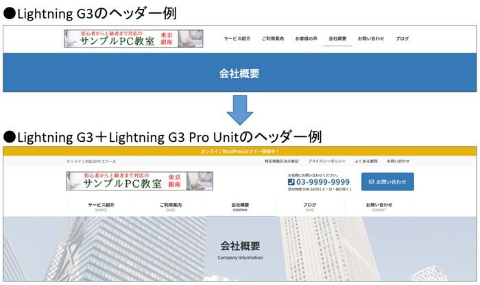 Lightning G3/Lightning G3 Pro Unitプラグインのヘッダー比較